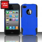 Hybrid Silicone/Plastic Mesh Case for Apple iPhone 4/4S - Blue