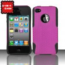 Hybrid Silicone/Plastic Mesh Case for Apple iPhone 4/4S - Pink
