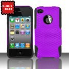 Hybrid Silicone/Plastic Mesh Case for Apple iPhone 4/4S - Purple