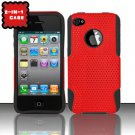 Hybrid Silicone/Plastic Mesh Case for Apple iPhone 4/4S - Red
