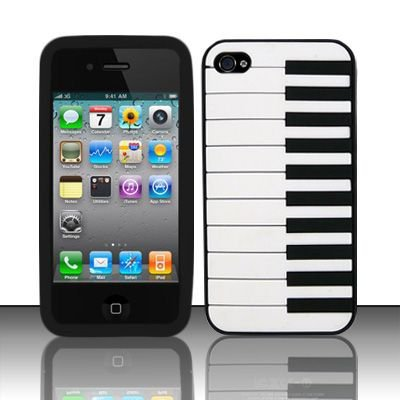 Soft Premium Silicone Case for Apple iPhone 4/4S - Black Piano