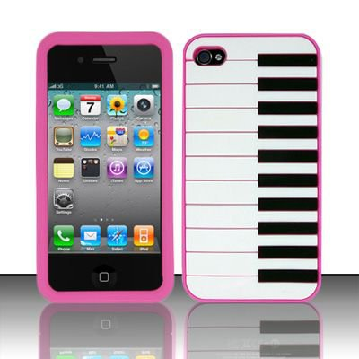 Soft Premium Silicone Case for Apple iPhone 4/4S - Pink Piano