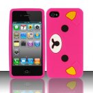 Soft Premium Silicone Case for Apple iPhone 4/4S - Pink Bear Cartoon