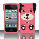 Soft Premium Silicone Case for Apple iPhone 4/4S - Pink Dog
