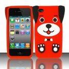 Soft Premium Silicone Case for Apple iPhone 4/4S - Red Dog