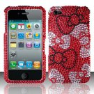 Hard Rhinestone Design Case for Apple iPhone 4/4S - Red Bow