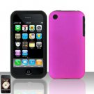 Hard Rubber Feel Silicone Combo Case for Apple iPhone 3G/3Gs - Pink