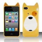 TPU Crystal Gel Cartoon Case for Apple iPhone 4/4S - Yellow Dog