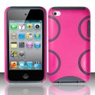 Hard Rubber Feel Silicone Combo Case for Apple iPod Touch 4 - Pink Semi-Circles
