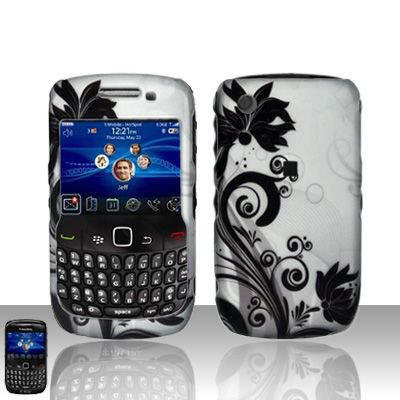 Hard Rubber Feel Design Case for Blackberry Curve 8520/9300 - Black Vines