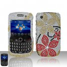 Hard Rhinestone Design Case for Blackberry Curve 8520/9300 - Red Flowers