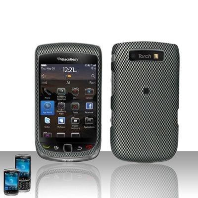 Hard Rubber Feel Design Case for Blackberry Torch 9800 - Carbon Fiber