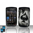 Hard Rubber Feel Design Case for Blackberry Torch 9800 - Spade Skull