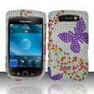 Hard Rhinestone Design Case for Blackberry Torch 9800 - Purple Butterfly