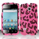 Hard Rhinestone Design Case for Huawei Ascend II M865 - Pink Leopard