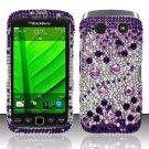 Hard Rhinestone Design Case for Blackberry Torch 9850/9860 - Purple Gems