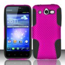 Hybrid Silicone/Plastic Mesh Case for Huawei Mercury M886 (Cricket) - Pink