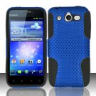 Hybrid Silicone/Plastic Mesh Case for Huawei Mercury M886 (Cricket) - Blue