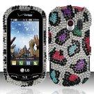 Hard Rhinestone Design Case for LG Extrovert VN271 (Verizon) - Colorful Leopard
