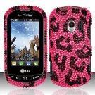 Hard Rhinestone Design Case for LG Extrovert VN271 (Verizon) - Pink Leopard