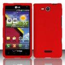 Hard Rubber Feel Plastic Case for LG Lucid VS840 (Verizon) - Red