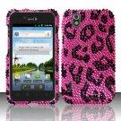 Hard Rhinestone Design Case for LG Marquee LS855/Optimus Black (Sprint/Boost) - Pink Leopard