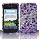 Hard Rhinestone Design Case for LG Marquee LS855/Optimus Black (Sprint/Boost) - Purple Gems