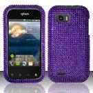 Hard Rhinestone Design Case for LG myTouch Q C800 (T-Mobile) - Purple