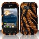Hard Rhinestone Design Case for LG myTouch Q C800 (T-Mobile) - Golden Zebra