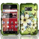 Hard Rubber Feel Design Case for LG Optimus Elite LS696 (Sprint) - Hawaiian Flowers