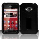 Hybrid Silicone/Plastic Ribbed Case for LG Optimus Elite LS696 (Sprint) - Black