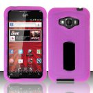 Hybrid Silicone/Plastic Ribbed Case for LG Optimus Elite LS696 (Sprint) - Pink