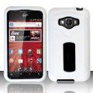 Hybrid Silicone/Plastic Ribbed Case for LG Optimus Elite LS696 (Sprint) - White