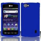 Hard Rubber Feel Plastic Case for LG Optimus M+ MS695 (MetroPCS) - Blue