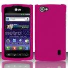 Hard Rubber Feel Plastic Case for LG Optimus M+ MS695 (MetroPCS) - Pink