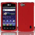 Hard Rubber Feel Plastic Case for LG Optimus M+ MS695 (MetroPCS) - Red