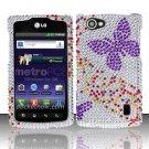 Hard Rhinestone Design Case for LG Optimus M+ MS695 (MetroPCS) - Purple Butterfly