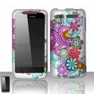 Hard Rubber Feel Design Case for HTC Merge - Purple Blue Flowers