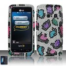 Hard Rhinestone Design Case for LG Rumor Touch/Banter Touch (Sprint/MetroPCS) - Colorful Leopard