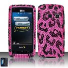 Hard Rhinestone Design Case for LG Rumor Touch/Banter Touch (Sprint/MetroPCS) - Pink Leopard