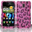 Hard Rhinestone Design Case for LG Spectrum/Revolution 2 VS920 - Pink Leopard