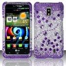 Hard Rhinestone Design Case for LG Spectrum/Revolution 2 VS920 - Purple Gems