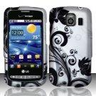 Hard Rubber Feel Design Case for LG Vortex VS660 (Verizon) - Black Vines