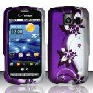 Hard Rubber Feel Design Case for LG Vortex VS660 (Verizon) - Purple Vines
