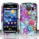 Hard Rubber Feel Design Case for LG Vortex VS660 (Verizon) - Purple Blue Flowers