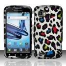 Hard Rubber Feel Design Case for Motorola Atrix 2 MB865 (AT&T) - Colorful Leopard