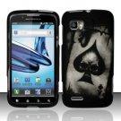 Hard Rubber Feel Design Case for Motorola Atrix 2 MB865 (AT&T) - Spade Skull