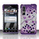 Hard Rhinestone Design Case for Motorola Droid 3 (Verizon) - Purple Gems