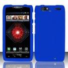 Hard Rubber Feel Plastic Case For Motorola Droid RAZR MAXX XT913/XT916 (Verizon) - Blue
