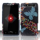 Hard Rhinestone Design Case for Motorola Droid RAZR XT912 (Verizon) - Blue Butterfly